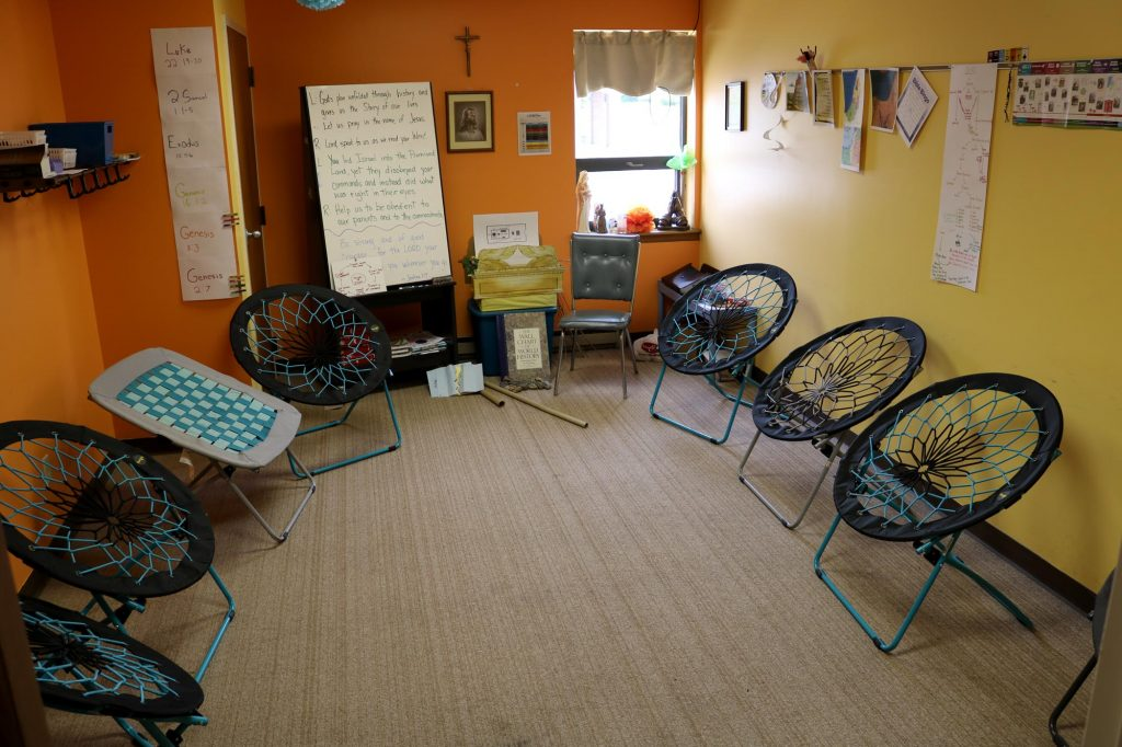 Comfy chairs in a Sunday school classroom at Holy Trinity Catholic Church
