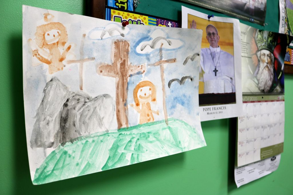Children's painting in a Sunday school classroom at Holy Trinity Catholic Church