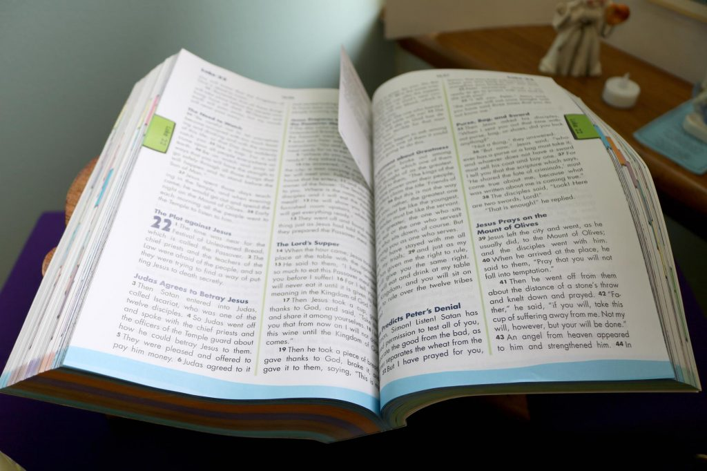 An Open Bible at Holy Trinity Catholic Church