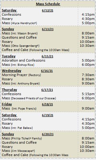 Mass Schedule for Week of June 13, 2021