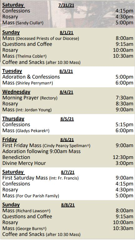 Mass Schedule for Week of August 1, 2021