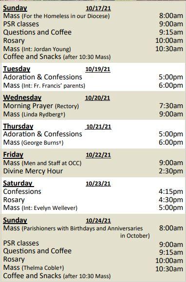 Mass Schedule for Week of October 17, 2021